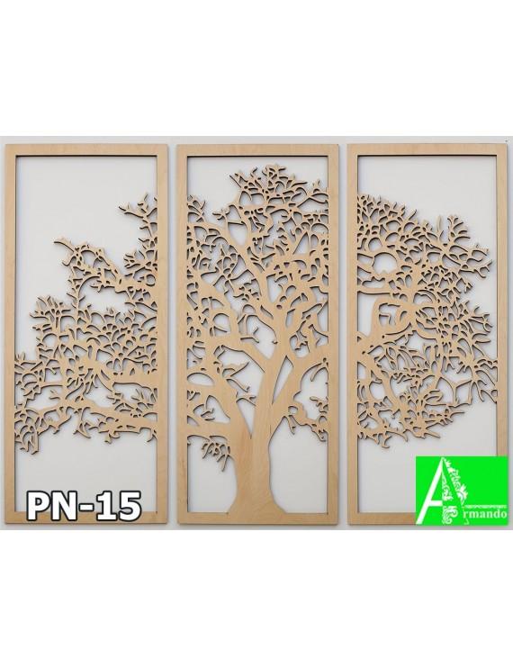 PN-15 Резная 2Д картина триптих в обрамлении, МДФ на ЧПУ